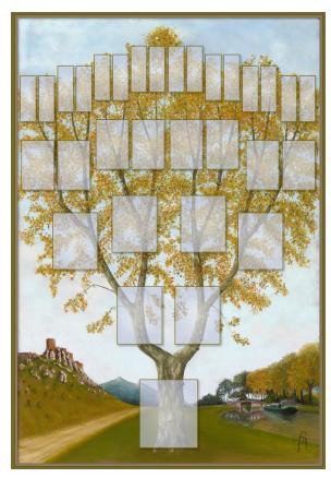 Arbre illustré 5 générations Platane