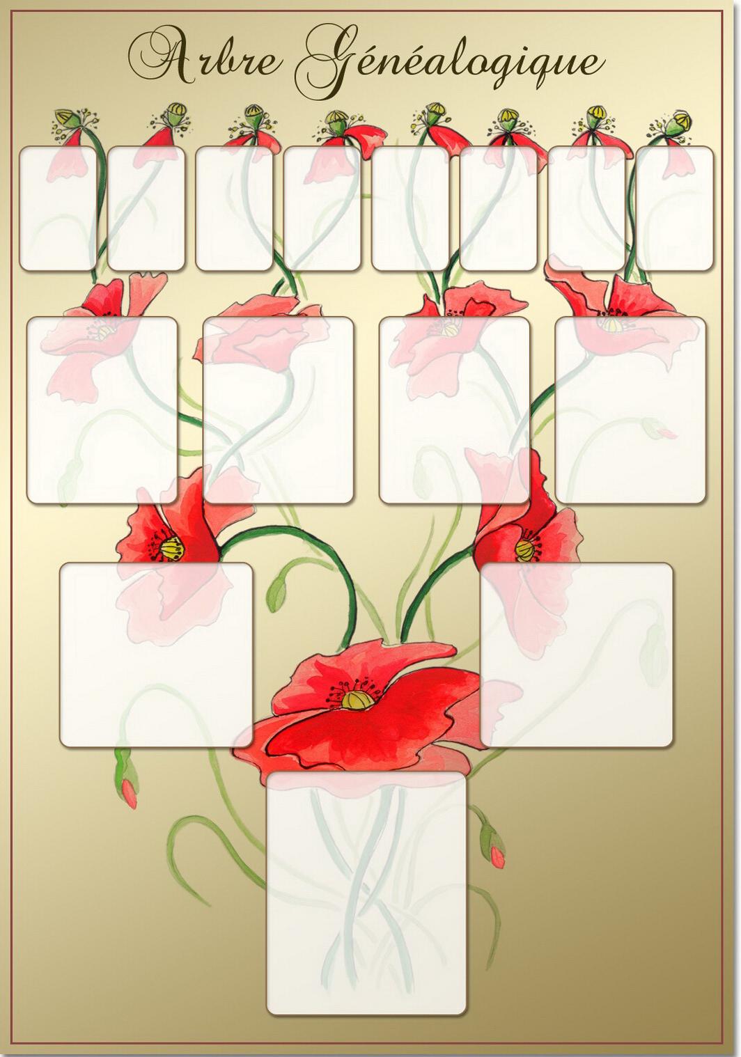 Arbre illustré 4 générations Coquelicots