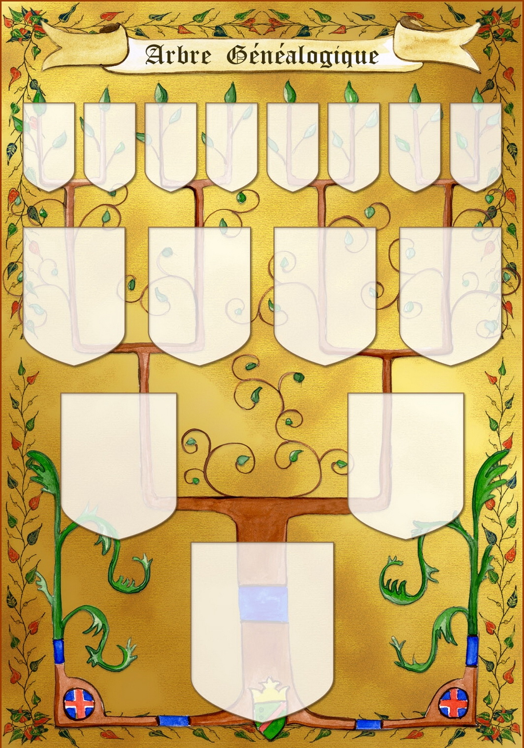 Arbre illustré 4 générations Enluminure
