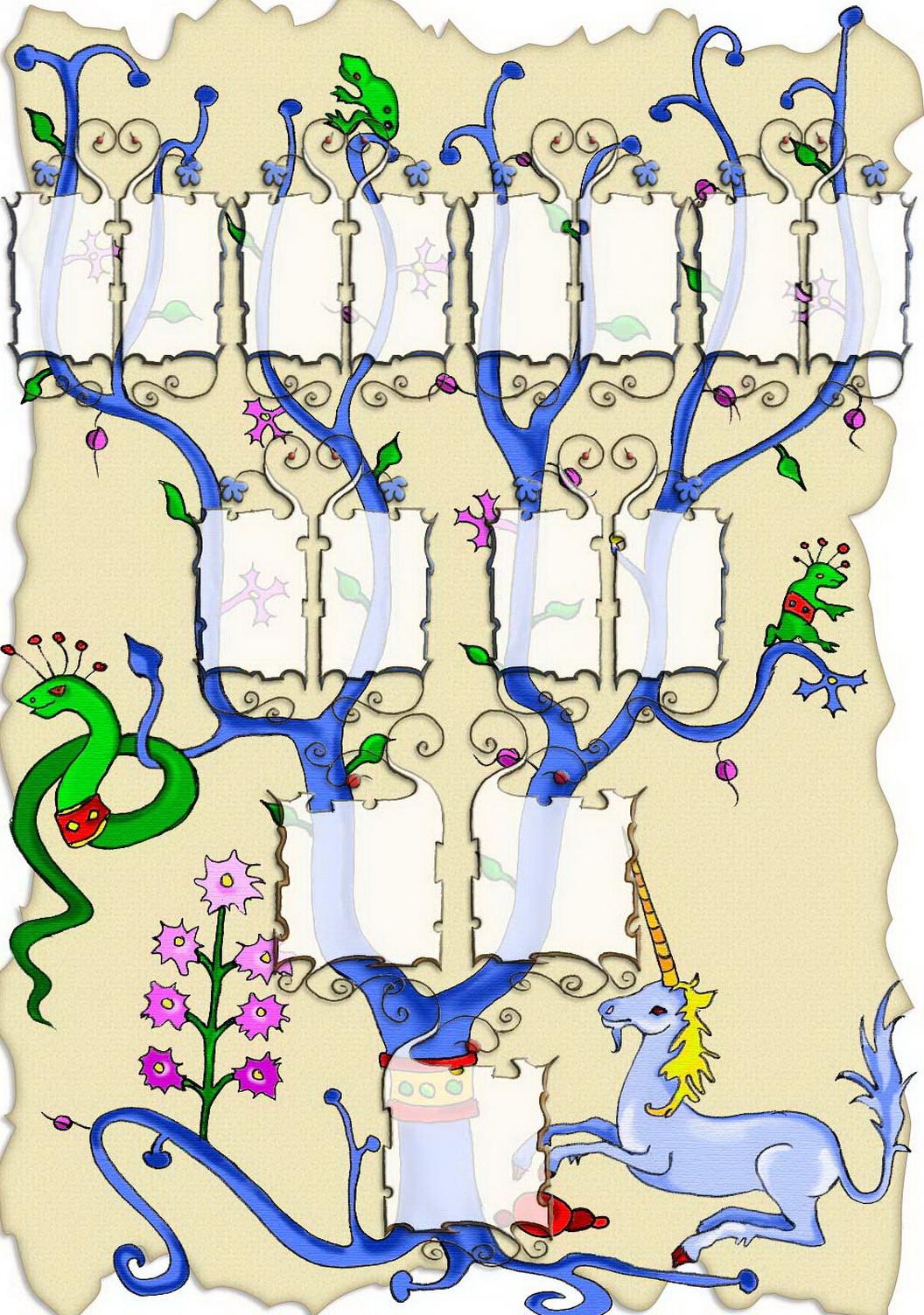 Arbre illustré 5 générations Junior Médiéval